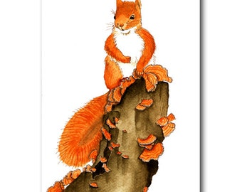 squirrel on a tree stump - original ink and watercolour illustration 9.5 x 6.25 inch