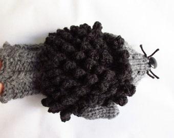 hedgehog mittens, animal mittens, gloves, women gloves, women mittens, winter gloves, college student gift, fingerless mittens,bike mittens