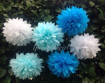 "TISSUE PAPER POMS / 10 Medium (12"") tissue paper pom poms / wedding decorations, baby shower, birthday decor, bridal shower, nursery decor"