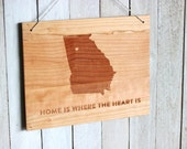 Home is Where The Heart is, City & State or Country - Customizable Modern Wooden Sign, Engraved Wood Wall Hanging Sign