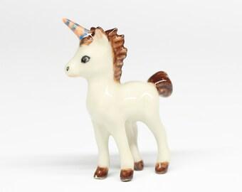 Miniature Animals Ceramic White Unicorn Horse Ceramic Hand painted