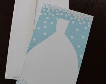 Wedding dress printable invitation set, 10 count