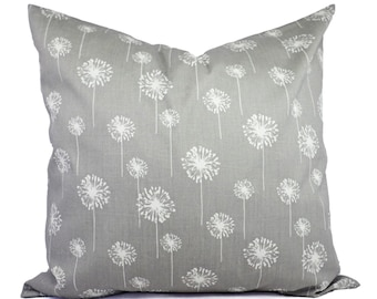 Two Grey Dandelion Pillows - Decorative Throw Pillow Covers - Grey Pillow Cover - Grey Pillows - Couch Pillow - Pillow Sham