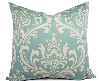 Damask Pillow Cover - Two Spa Blue Damask Decorative Pillow Covers Light Blue and Beige - Blue Throw Pillow Cushion Cover Accent Pillow