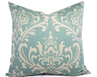 Two Pillow Covers - Two Spa Blue Damask Decorative Pillow Covers Light Blue and Beige - Blue Throw Pillow - Cushion Cover - Pillow