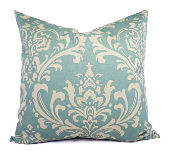 Spa Blue Throw Pillows : Two Pillow Covers Two Spa Blue Damask Decorative Pillow