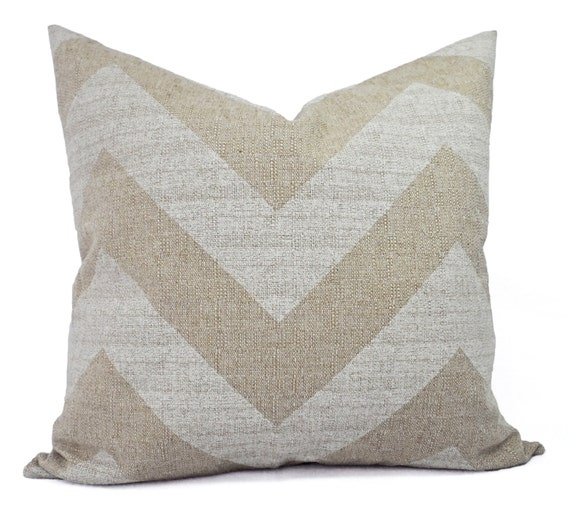 Two Chevron Decorative Throw Pillow Covers White and Cream