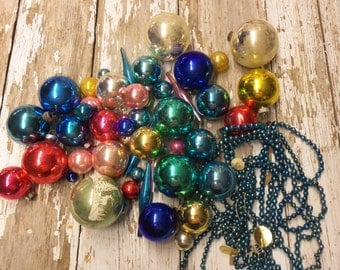 Vintage Christmas Bobbles Ornaments Mercury Glass Ornaments Collection