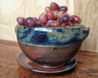 Red and Blue Colander for Washing and Serving Fruit, Berry Bowl