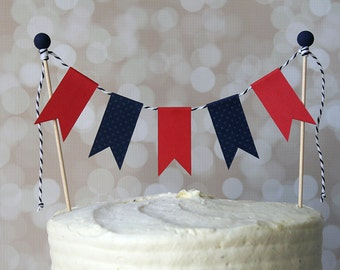 Preppy Nautical Navy Blue & Red Birthday Cake Bunting Pennant Flag Cake Topper-MANY Colors to Choose From!  Birthday, Shower Cake Topper