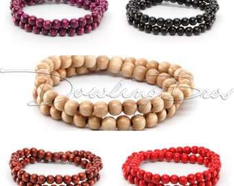 6MM Beaded Wood Bracelet for Men or Women - 5 Colors Available
