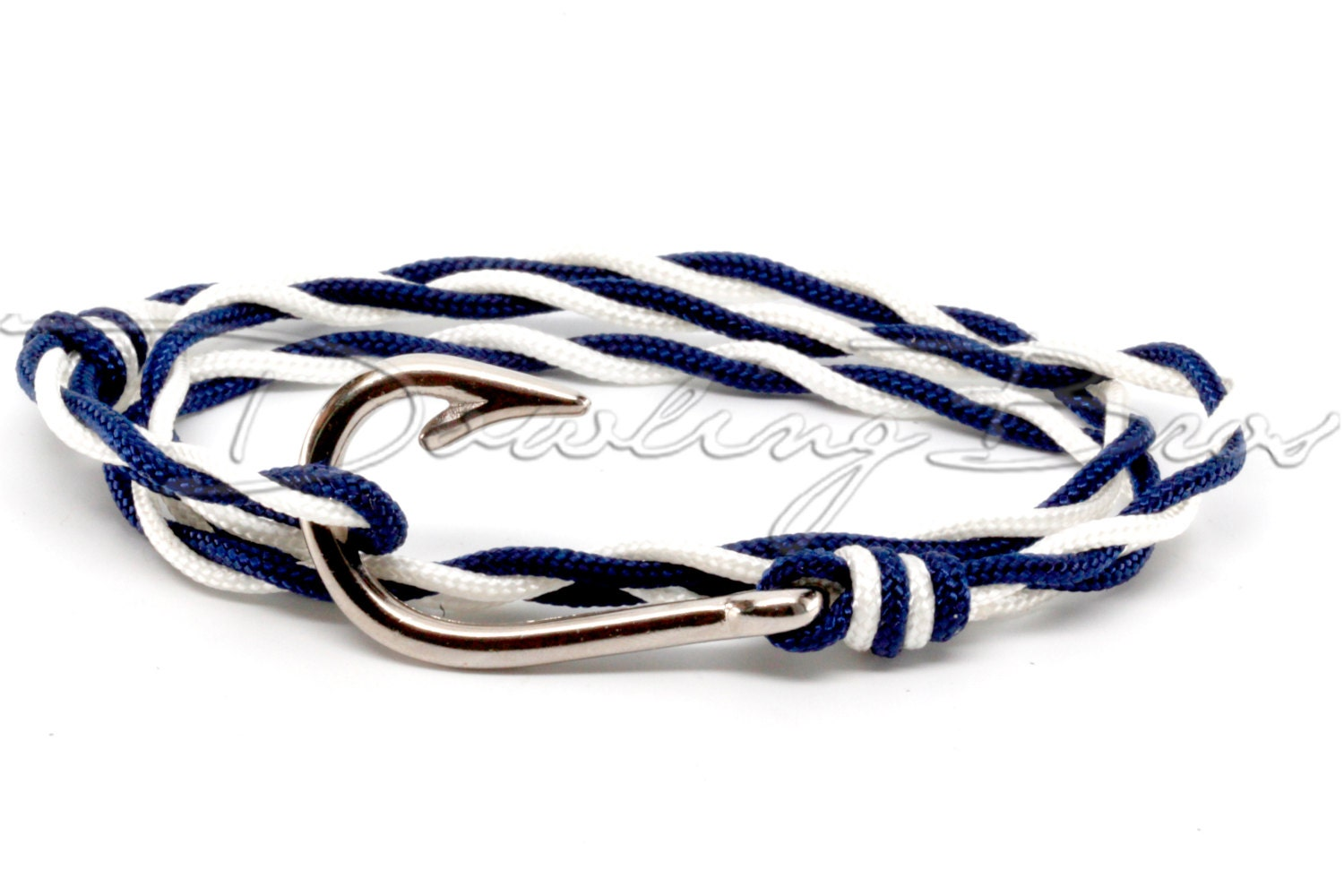 Navy blue white twisted paracord silver fish hook bracelet for Fish hook paracord bracelet