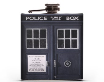 Doctor Who TARDIS (Dr. Who: T.A.R.D.I.S. - Time and Relative Dimension in Space) Liquor Hip Flask