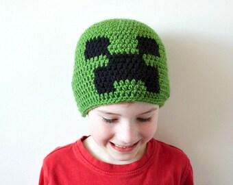 Kids Winter Hat Kids Creeper Hat - Kids Minecraft Hat - Kids Creeper Beanie - Crochet Minecraft Hat - Kids Minecraft Creeper Fun Gift