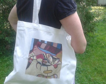 Cat on small cotton tote bag