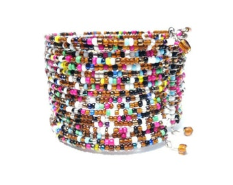 Wide Vintage Glass Beads Memory Wire Cuff Bangle Bracelet