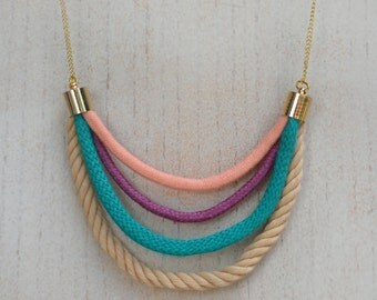Trendy statement eco friendly rope necklace in pastel colors.