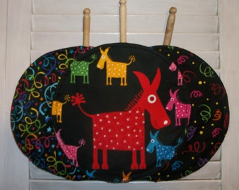 "Tortilla Pita Flat Bread Naan 10"" Round Microwave Warmer Red Burro Donkey Confetti Streamers Fiesta Cinco de Mayo Original Design by HCF&D"