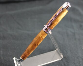 Pink Swarovski Crystals Princess Ballpoint Pen - Made With Golden Camphor Wood