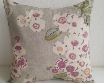 SALE!!!!!!!!!! Decorative Throw Pillow Cover 18' x 18' linen color with purple flowers