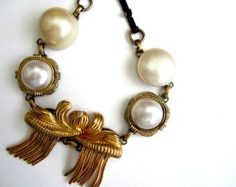 Repurposed /Upcycled Vintage Earrings in an Antiqued Bronze Bracelet, Eco Chic Bracelet. Faux Pearl and Gold Tone Earring Bracelet.