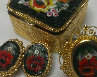 Black Mosaic Set, Trinket Box ,Earring Set