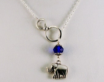 Lucky Elephant Birthstone Lariat Necklace, Customize length and Color