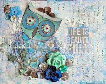Owl Mixed Media Canvas, 8 x 10, Collage, blue, green, gray