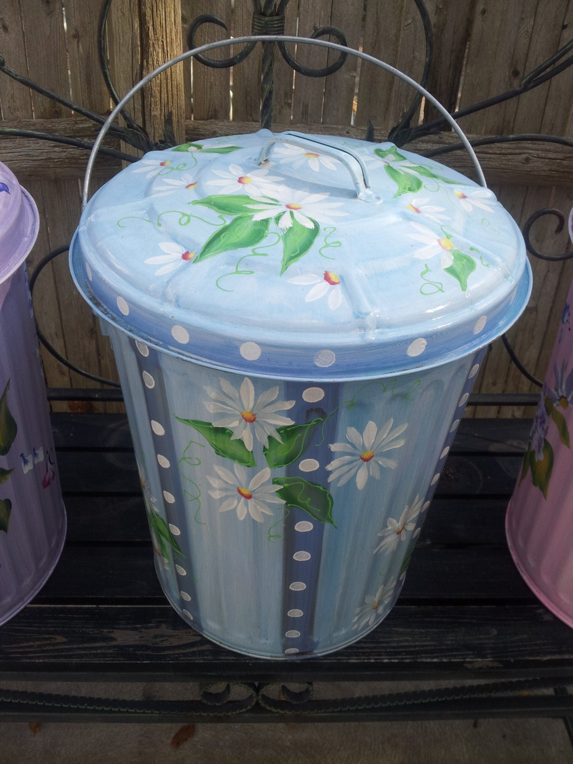10 Gallon Hand Painted Galvanized Trash Can