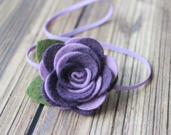 Purple felt flower headband  - newborn/baby/toddler headband - felt rose headband