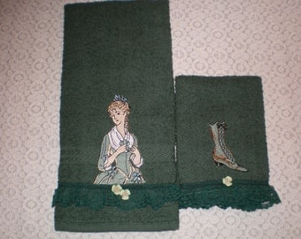 Victorian Lady and Victorian Boot-Hunter Green Bath Set