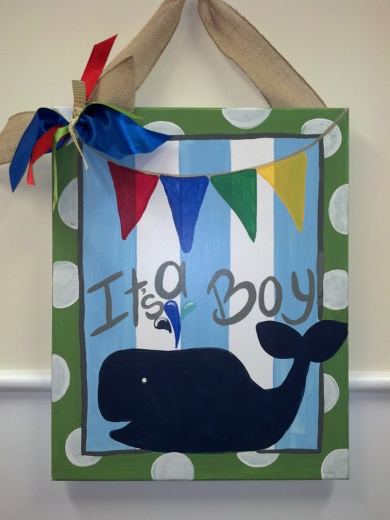 Items similar to its a boy door hanger hanging nautical for Baby boy door decoration
