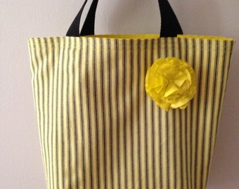Yellow & Black Railroad Denim Lined Tote
