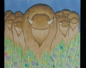 Bison Stampede Watercolor Painting Notecard - Buffalo - Native American Style - Blank Inside - Card