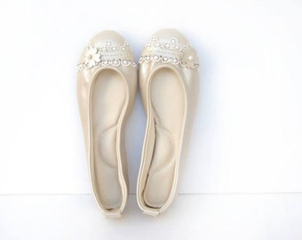 Pearl ivory leather and lace ballerina flat shoes custom made
