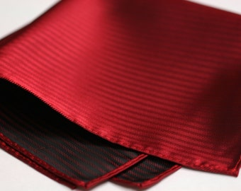 POCKET SQUARES in Red on Red stripes with two tone red and black