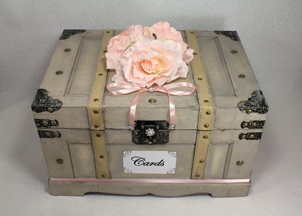 Vintage Trunk Wedding Card Box Wooden Wedding Card Box Trunk