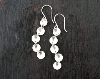 Sterling silver dangle earrings. Long silver earrings. Handmade, concave discs link dangle earrings. Modern unique jewelry