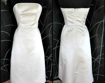 WEDDING BRIDAL Champagne Satin Dress / Bill Levkoff Classics / fits S / boned bustier