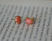 Coral and Gold Stud Earring