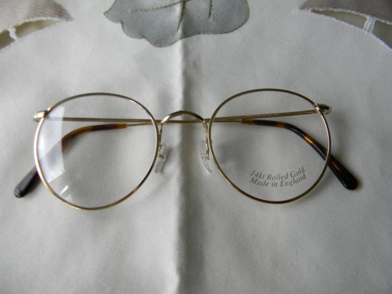 Vintage Rare Savile Row Panto rolled gold eyeglasses 14KT RG.