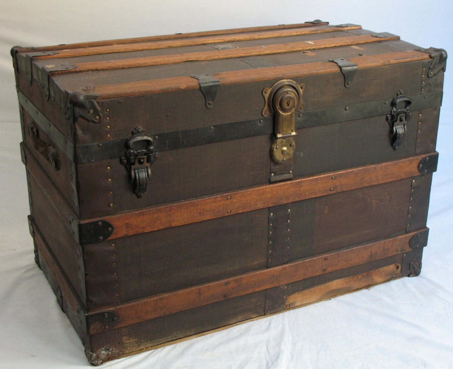1900s Antique Steamer Trunk Large Turn-of-the-Century Canvas