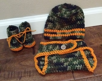 Crochet Baby Camo Outfit