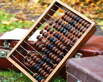 Soviet abacus large rustic wooden bookkeeping primitive calculator 1950's