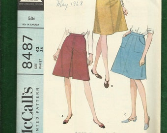"""1966 McCalls 8487  Classic """"A"""" Line Skirt with Cargo Pocket or Inverted Front Pleat Size 18 UNCUT"""