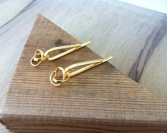 Contemporary earrings, Stud long earrings, Statement long earrings, Infinity earrings, Modern jewelry, Modern gold earring, Drop earrings