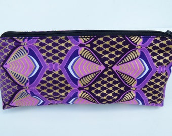 Beautiful African Fabric Make-up bag clutch purse in Deep Purple, Pink and gold