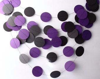 Halloween Garland Black & Purple Paper Garland 10ft, Halloween Home Decor, Wedding Garland,  Birthday Party, Party Decor, Fall Decor