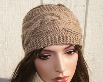 Crochet Headband Ear Warmer Light Brown Cable Knit Headband
