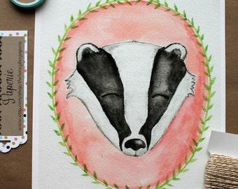 Children's Art/ Badger Art Print/ Kids Art- 8x10